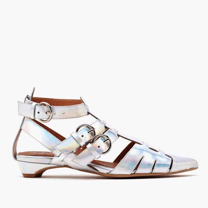 wholesale dealer 587c4 046c5 Jeffrey Campbell Deetz Flat Sandals in Silver Holo, Women's ...