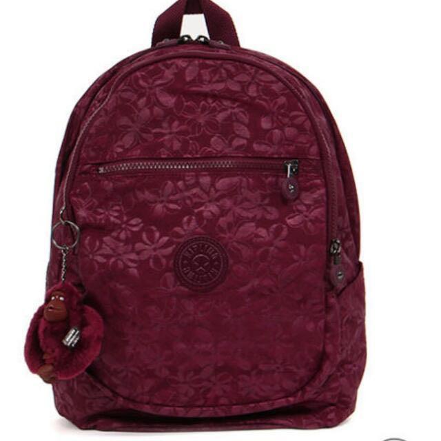 Kipling紫紅色浮水花印雙肩背包K12474