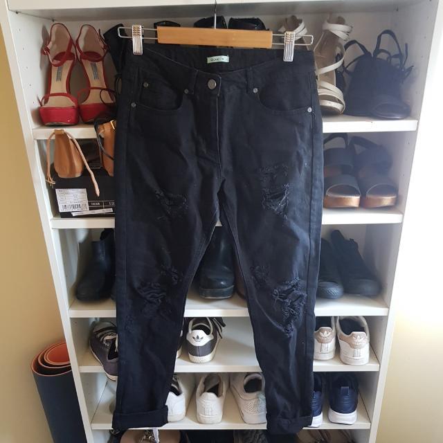 Kookai Black Ripped Crop Black Denim Jeans