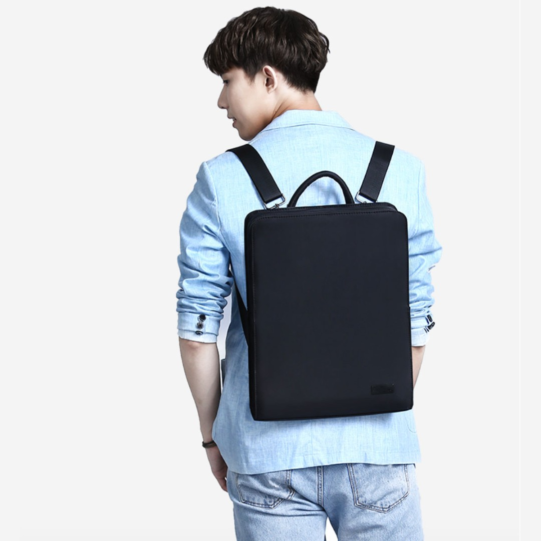 Korean Backpack - Full Matt Black + Water Resistant!