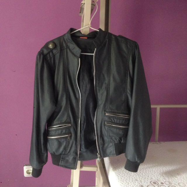 Leather Jacket Bomber Zipper S.Oliver Black