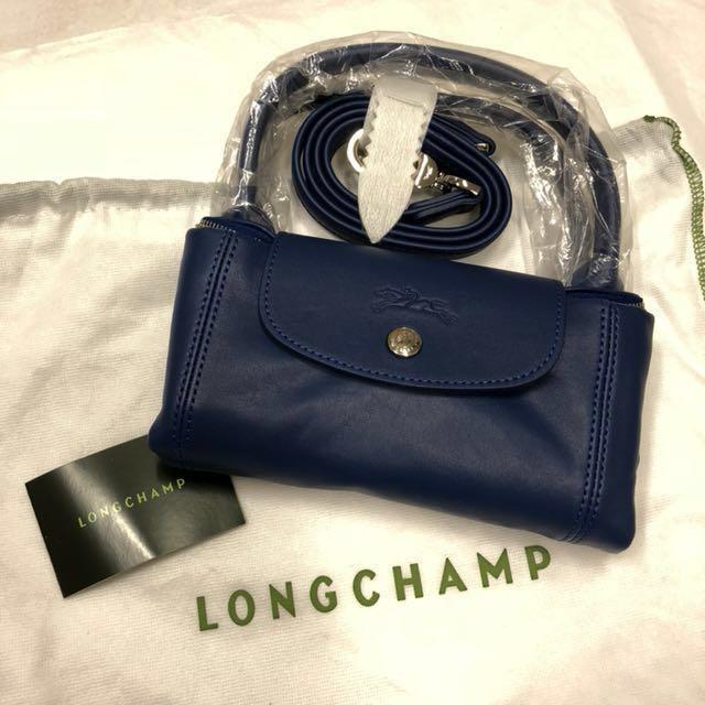 正全新Longchamp 小羊皮法國製 深藍色小款S 兩用包肩背包手提包斜背包折疊包(可放長夾
