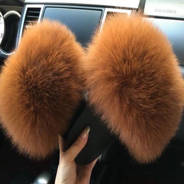 LUXURY REAL FOX FUR SLIPPERS