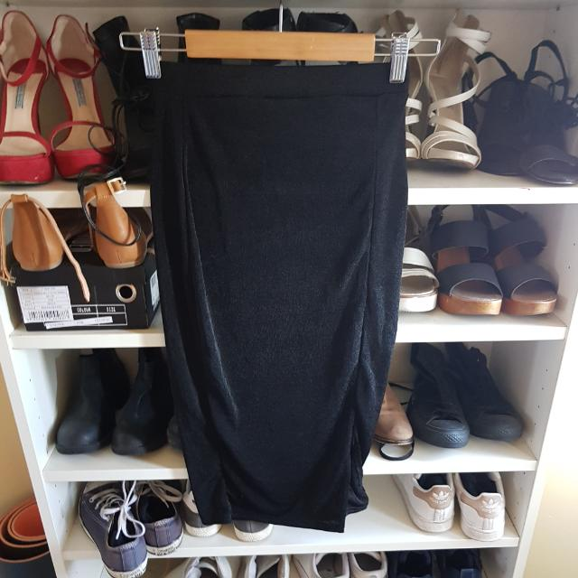 Misguided Black Midi Split Skirt