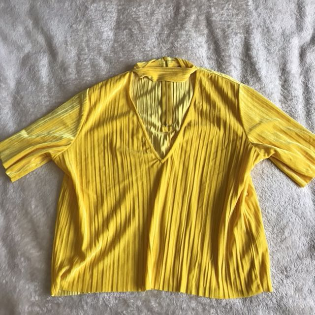 Monki Yellow Velvet Choker Top
