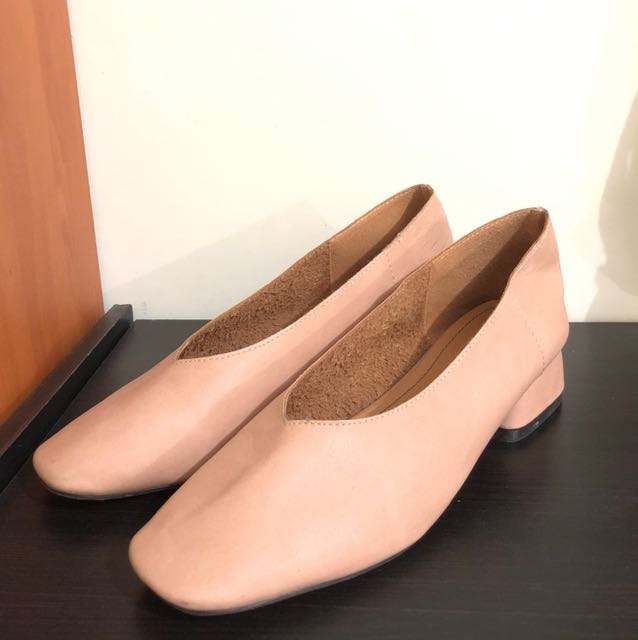 Mules nude pink platform heels flat korea