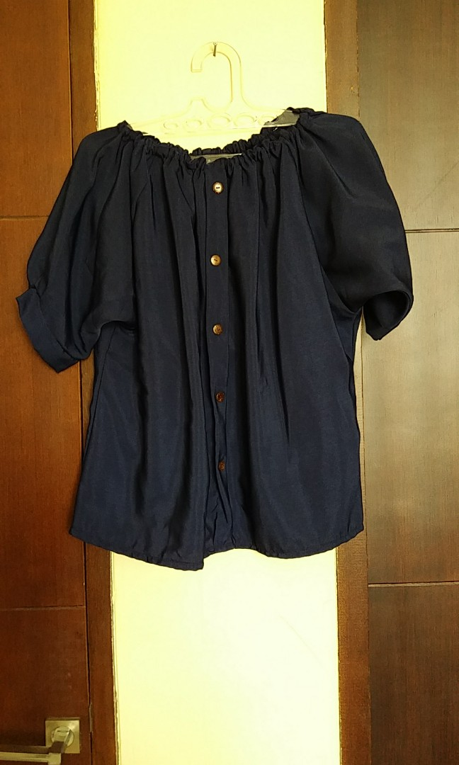 Navy sabrina blouse