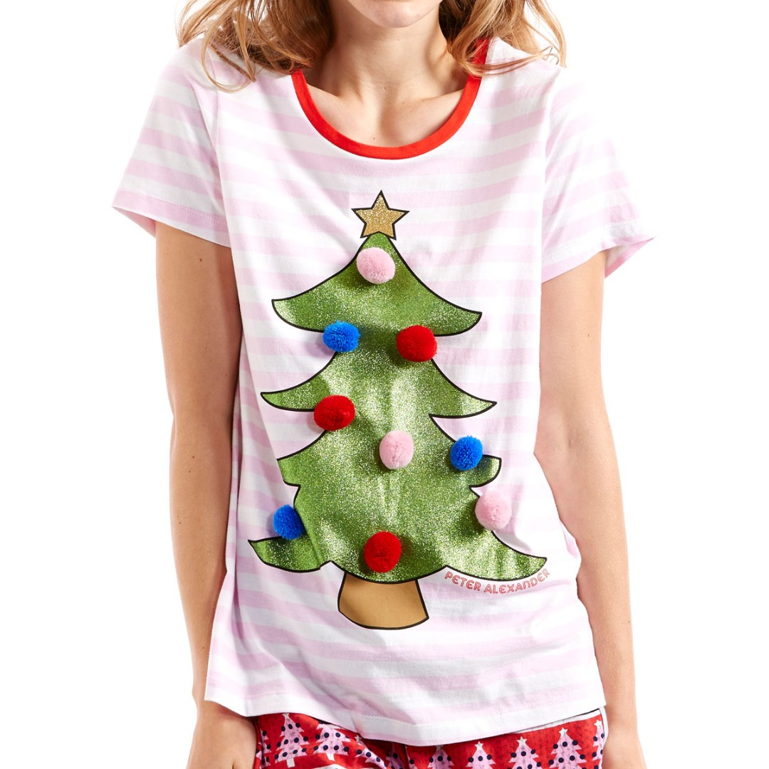 peter alexander christmas tree pom pom stripe pink/white shirt