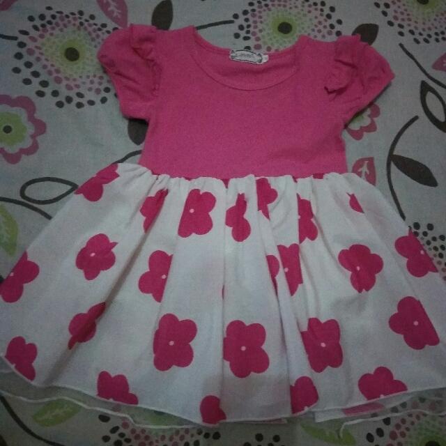Pink Flower Dress Size 100 (skitaran 2th)