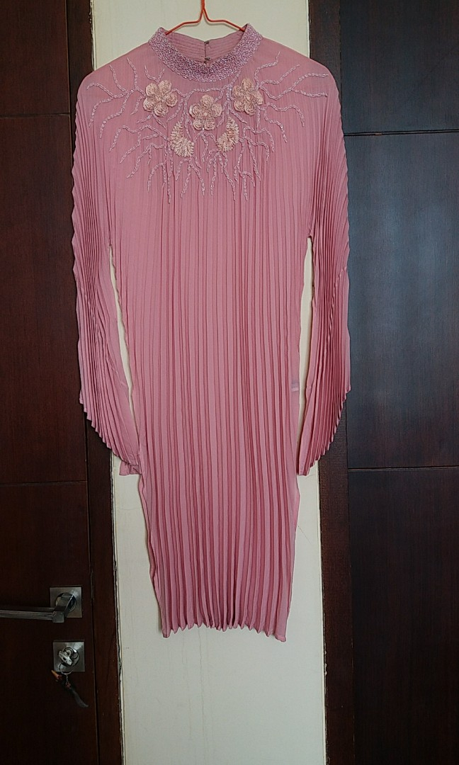 Pink plisket party blouse