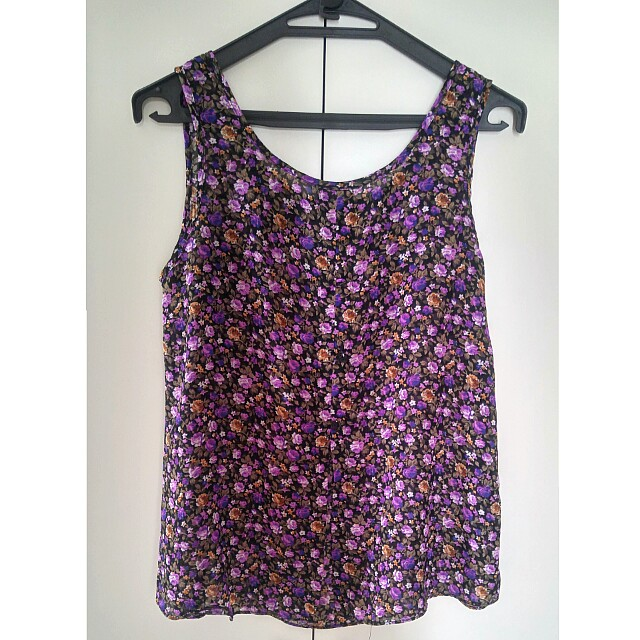 Purple Flower Vcut top