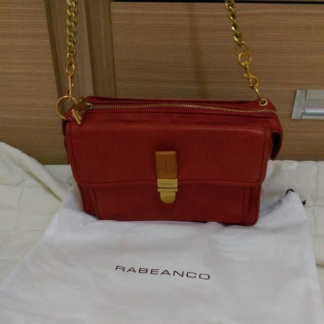 Rabeanco正紅牛皮金鍊小包