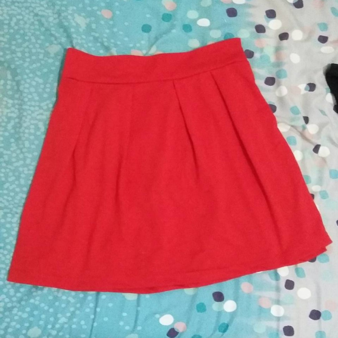 Red Mini Flare Skirt