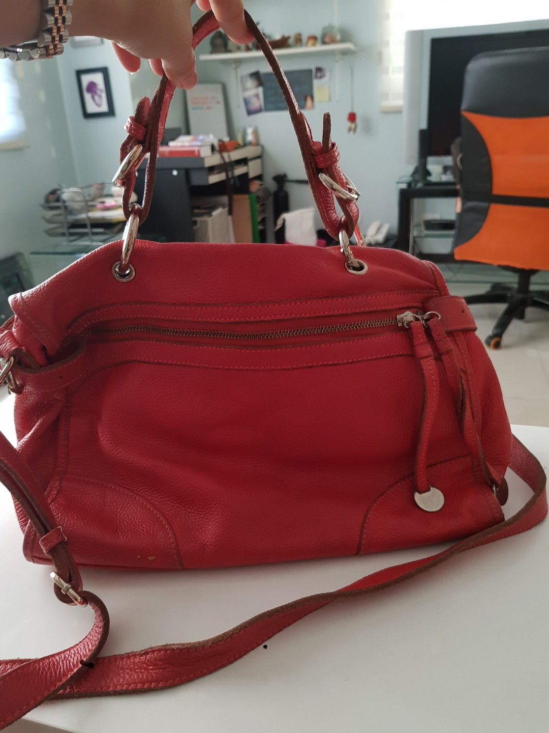 Red Real Leather Sling bag