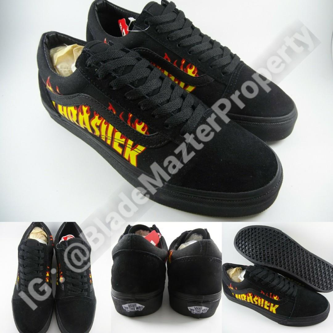 d778c87e7b Sepatu Kets Vans Old Skool X Thrasher Fullblack Mono Black Hitam ...