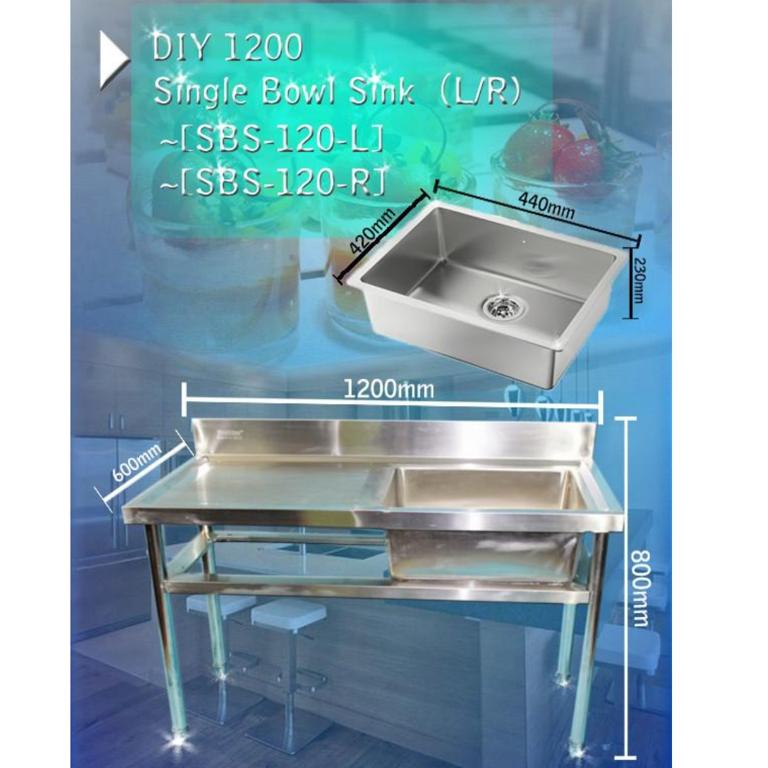SINK STAINLESS STEEL, Kitchen & Appliances on Carousell