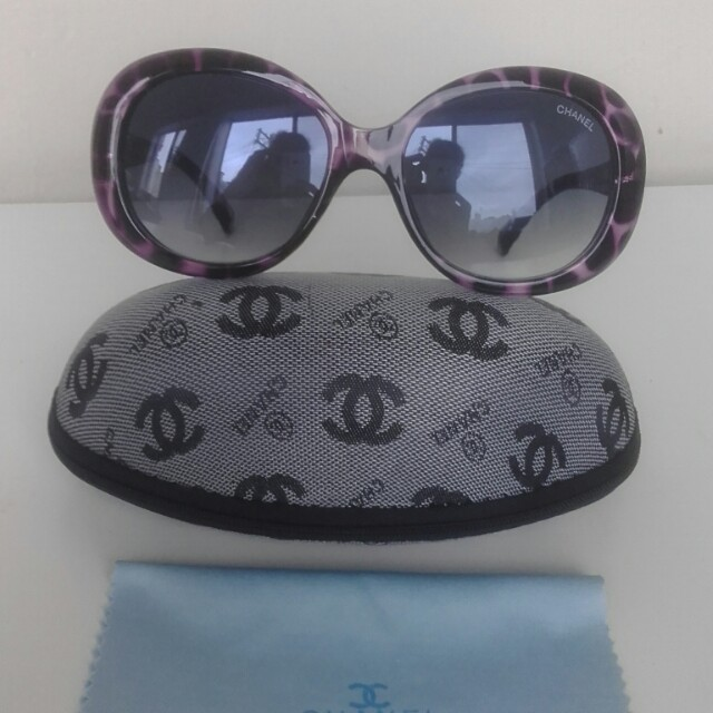 Sunglasses cc style purple blue lense with carry case