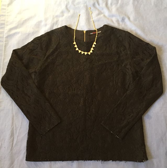 The Black Shop Longsleeve Lace Top