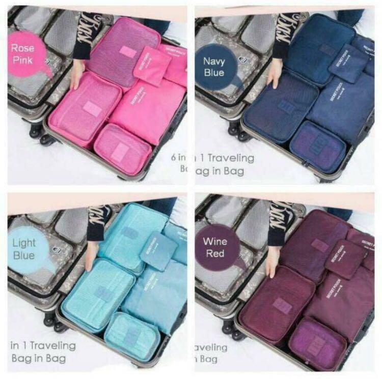 Traveling Bag In Bag Organizer (1set isi 6pcs) (ukuran lebih besar)