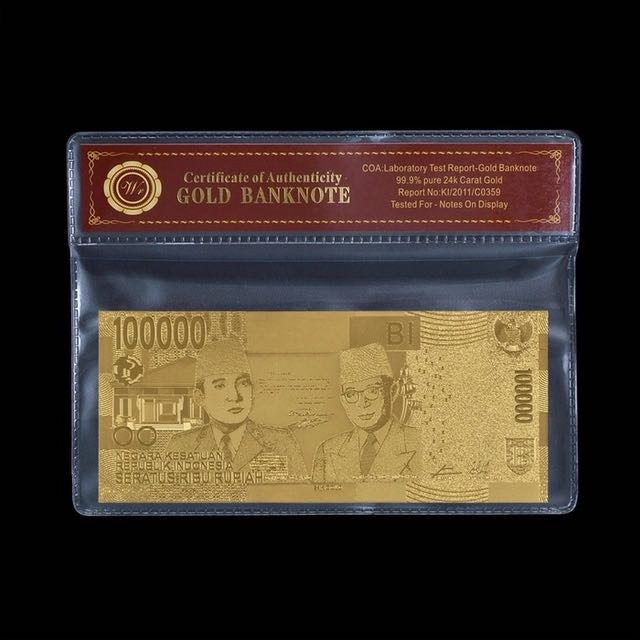Uang Replika 100.000 Rupiah Lapis Emas 24K Seratus Ribu Gold Plated