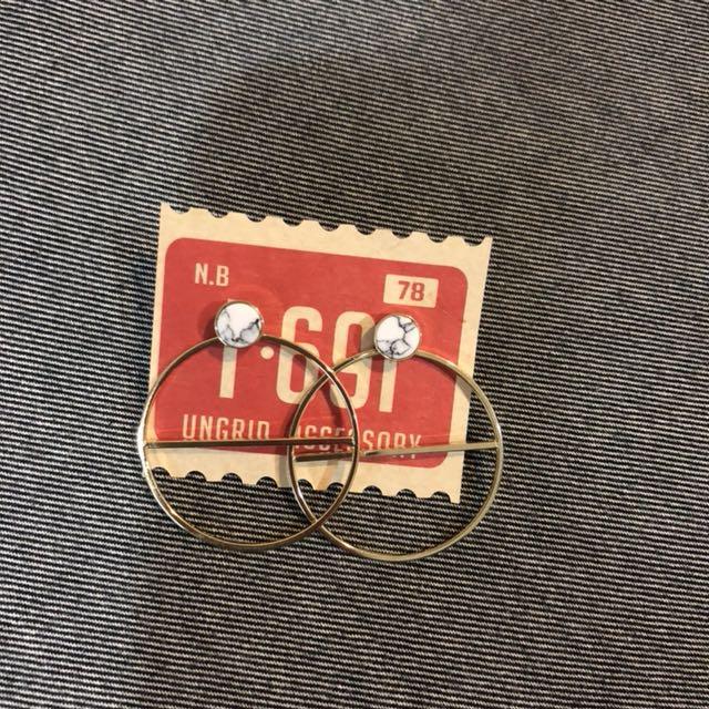 正品ungrid韓國製 大理石耳環 金色