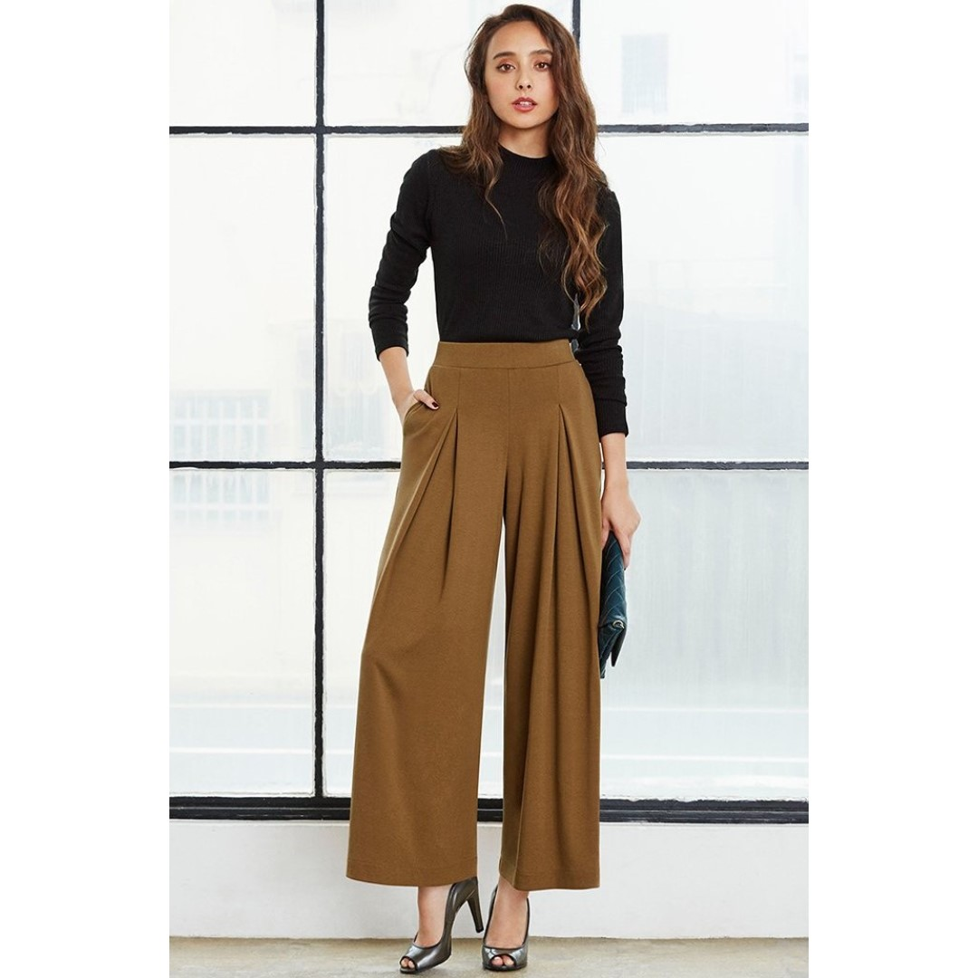 UNIQLO WOMEN WIDE PANTS (WINE)