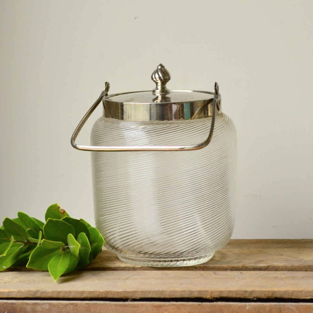 Vintage Heavy Biscuit Canister with Metal Lid and Handle
