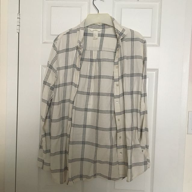 White and Black Striped H&M Button Up