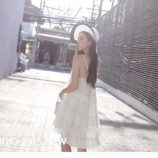 White Pleated Tier Summer Dress