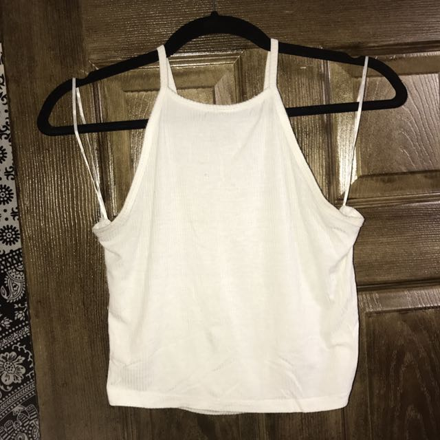 White Ribbed High Neck Tank Top