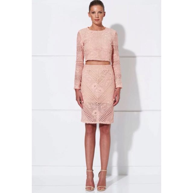 Winona 2 Set Top + Skirt Pink Lace RRP $280 BNWOT