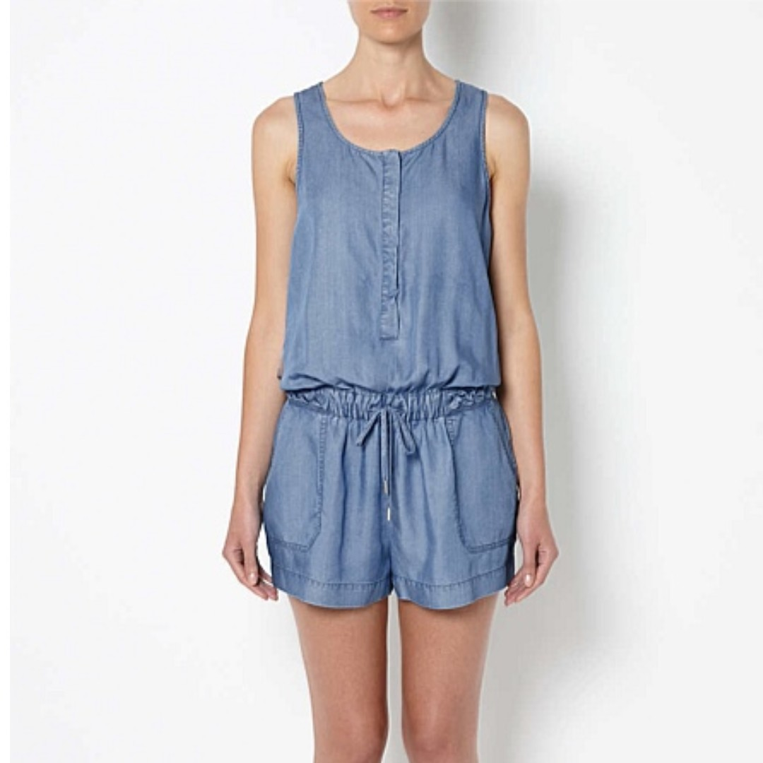 WITCHERY light blue chambray braided playsuit sz 10