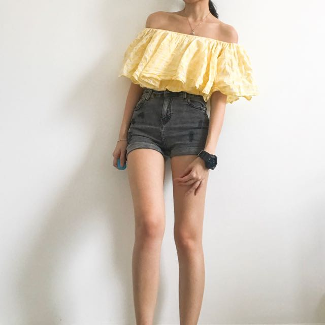 Yellow Checkered Off Shoulder Top