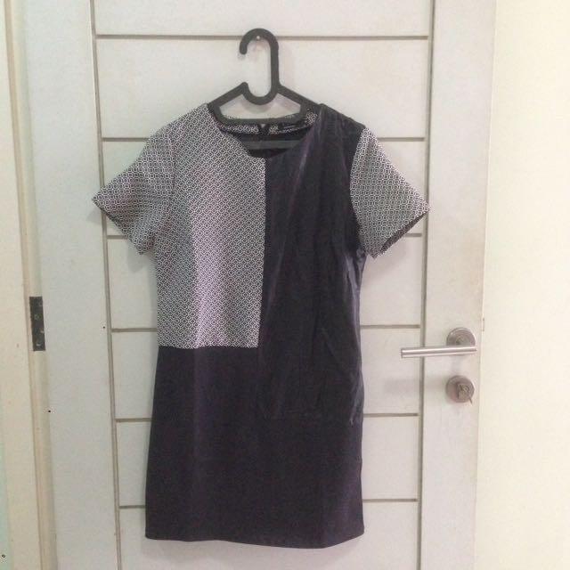 "Zalora ""EZRA"" Monochrome Leather Dress"