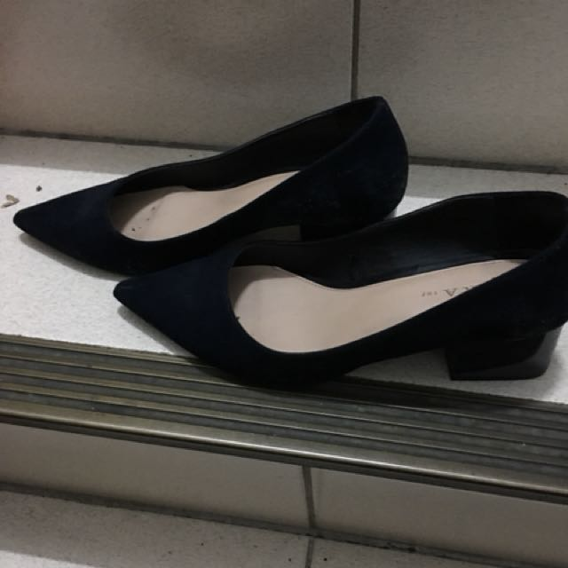 Zara39號藍色尖頭粗跟鞋