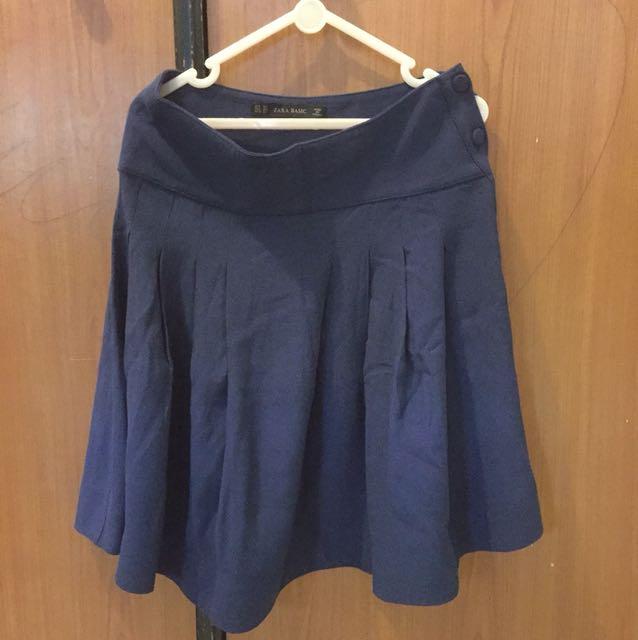 Zara Basic Blue Indigo Skirt