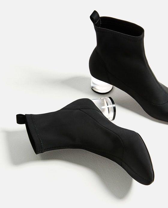 Zara clear heel boot
