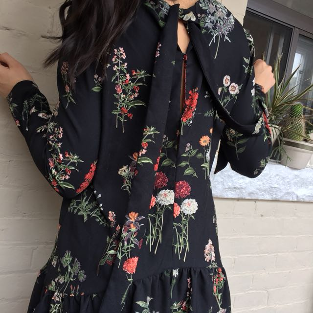 Zara floral romper with keyhole back detail