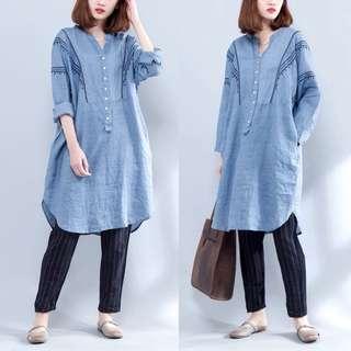 Plus Size Loose long embroidered long-sleeved shirt female Korean linen shirt