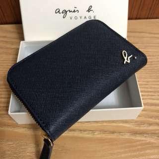 全新 agnes b. 藍色 深藍色 草寫b 拉鍊款 拉鏈 牛皮 零錢包 鑰匙包 信用卡夾 名片夾 保證真品 正品 防刮