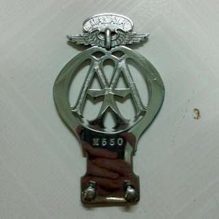 Malaya AA Automobile Association Car Badge Vintage