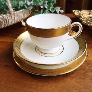 英國製Wedgwood ASCOT系列優雅華麗細緻金邊圖騰三件杯盤組