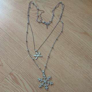 Snowflake double silver hardware necklace