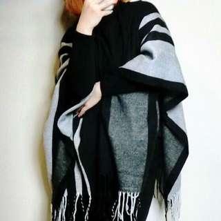 歐美韓系文青古著氣質女神斗篷罩衫外套圍巾咖啡色灰黑色格子流蘇