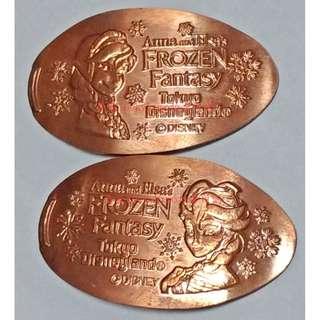 【冰雪奇緣 艾莎 安娜 紀念幣 2枚 東京 迪士尼】Disney 銅幣 壓印幣 金幣 Frozen Anna Elsa