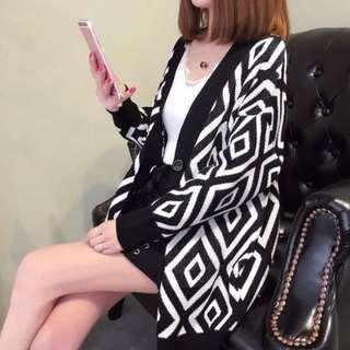 Spring Jacket Long Retro Wind Diamond Cardigan Korean Knit Cardigan