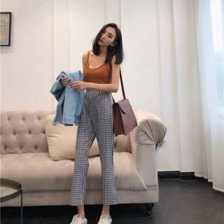 highwaist plaid checkered pants