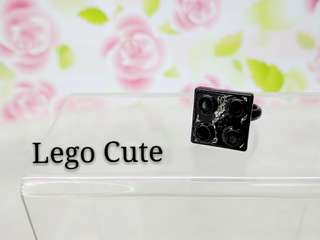 Black Lego Rainstone Ring