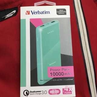 verbatim流動充電器 power pack QC3.0 Li-Polymer 10000mAh