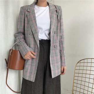 Retro British Plaid Double-breasted Temperament Long section Long-sleeved suit Jacket Female Korean version